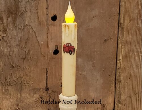 """RED TRUCK with PUMPKIN TIMER Taper Candle Cream 6.75"""" Farmhouse Chic"""