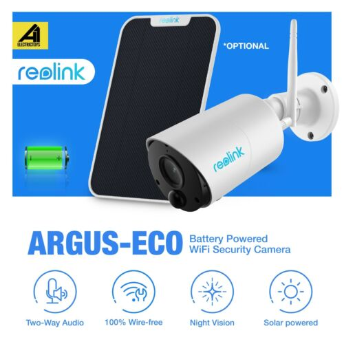 Reolink Argus Eco IP Camera WiFi Outdoor Battery Wireless Security Cam FHD 1080p <br/> Rechargeable Battery✔IP65 Waterproof✔with SD Card Slot✔