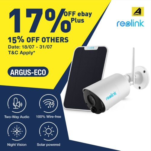 Reolink Argus Eco IP Camera WiFi Outdoor Battery Wireless Security Cam FHD 1080p