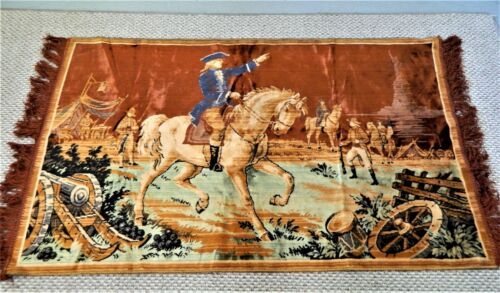 """TAPESTRY ,GEORGE WASHINGTON WITH HIS ARMY  APPROX. 42 X 25 W/2-3"""" FRINGE,VINTAGE"""