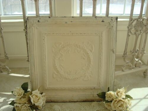 """#2 FABULOUS OLD ARCHITECTURAL CEILING TIN FRENCH WREATH & BOWS 24"""" X 24"""""""