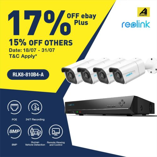 Reolink 4K 8CH 8MP PoE Home Surveillance 4 PoE Security Camera NVR RLK8-800B4 AU