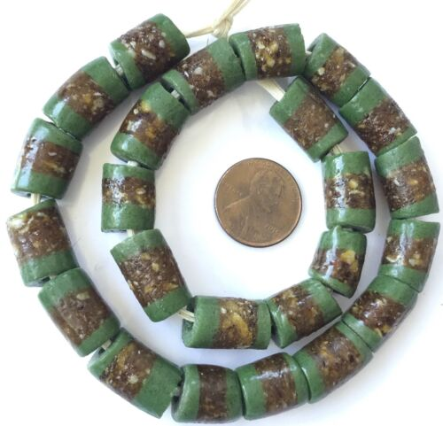 Ghana Matched Op Fine Green Banded cylinder Recycled African glass trade beads
