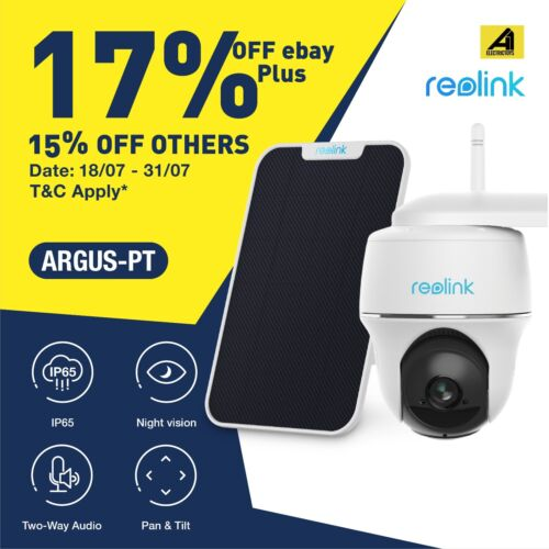 Reolink Argus PT 1080P Rechargeable Battery Powered Wireless Outdoor Camera Sola