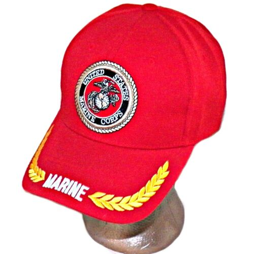 United States Marine Corps USMC Logo Olive Leaves Trim Red Baseball Hat USA  CapMarine Corps - 66531