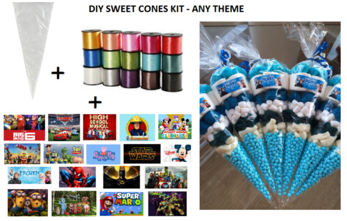 10 x PERSONALISED DIY SWEET CONES KIT PARTY BAG LOOT BAG - THANK YOU - THEME S