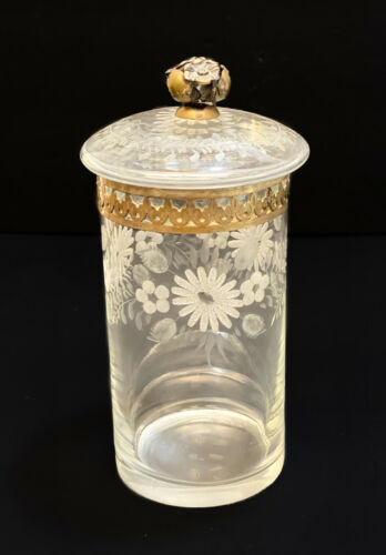 Tall Vitali Bruno Italian 800 Silver Mounted Cut Glass Etched Round Lidded Jar