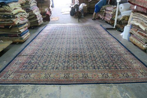 Antique India Agra Herati Rug Hand Knotted Wool 10'9 x 15'10  Allover Distressed