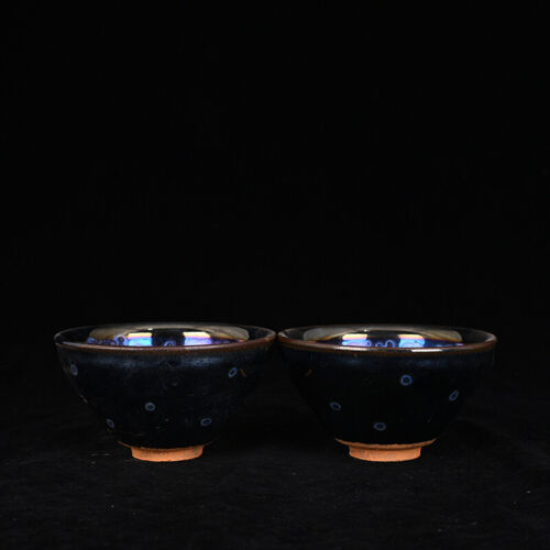 """Antique Chinese Fine song Multicolored temmoku Ceramics jianzhan Teacup 4.9"""""""