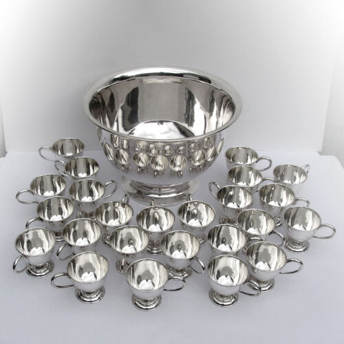 Japanese 25 Piece Punch Bowl Set 950 Sterling Silver Boxed