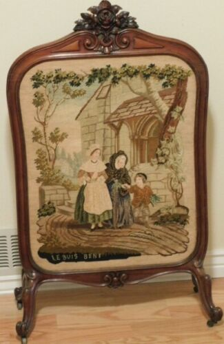 old carved wood Fireplace Screen w/ masterful Needlepoint Centerpiece & Casters
