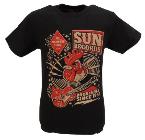 Sun Records Mens Black Rooster Cotton T Shirt