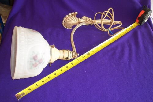 Antiqued Vintage Art Deco  Wall Sconce Lamp Light Glass Shade