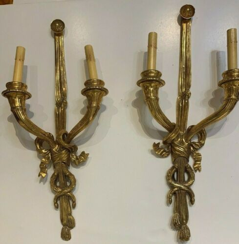 Pair Of Louis XVI Style Gilt Metal Sconces