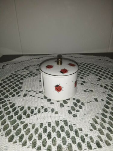 VINTAGE....CERAMIC...KITCHEN  KING......STAMP  HOLDER  W / LADY BUGS...JAPAN