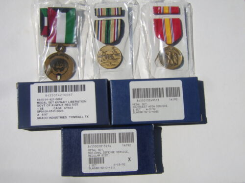 MEDAL SET OF 3  LIBERATION OF KUWAIT/SW ASIA SERVICE/NATIONAL DEFENSE NEW IN BOXOther Militaria - 135