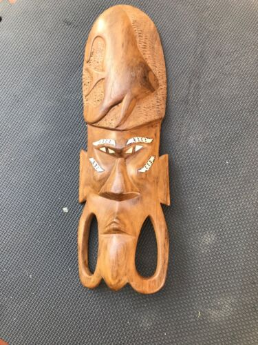 Old Solomon Islands Papua New Guinea Mask With Pearl Shell Inlay Suit Tiki Bar