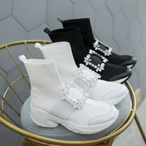 MW010354 - FASHION RHINESTONE BUCKLE HIGH TOP SNEAKERS BOOTS (SIZE 34 - 40)