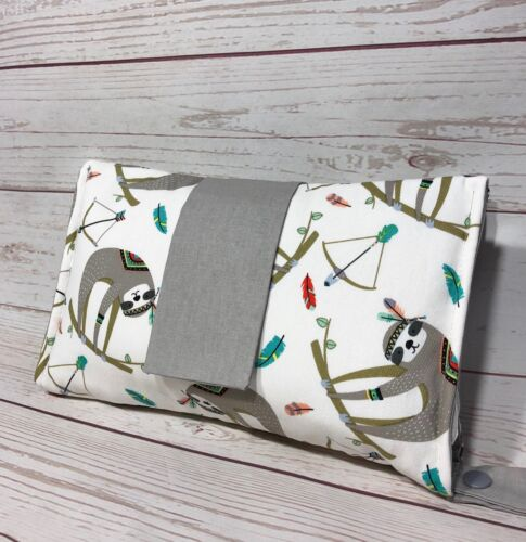 Nappy wallet diaper clutch baby diaper bag white grey or green sloth