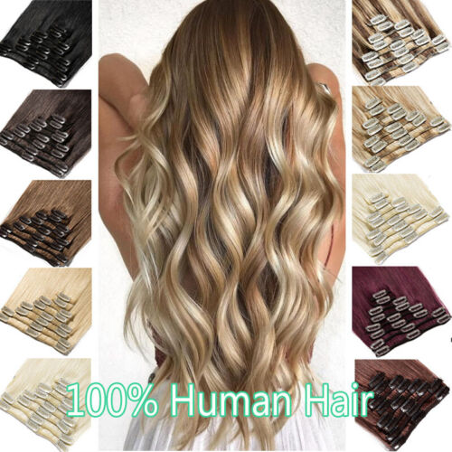 AU CLEARANCE 100% Human Hair Extensions Clip In Real Remy Hair Full Head Blonde