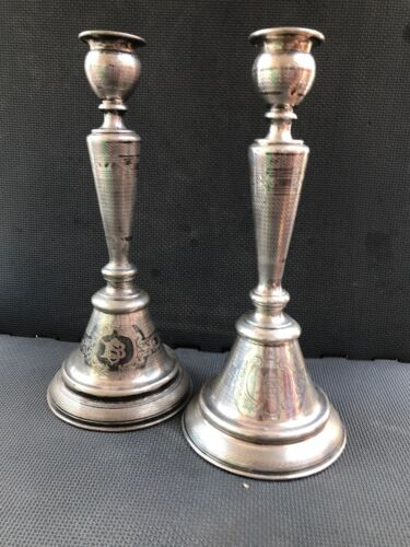 A Superb Pair Of Large Antique Austrian 800 Silver Candlesticks circa 1880