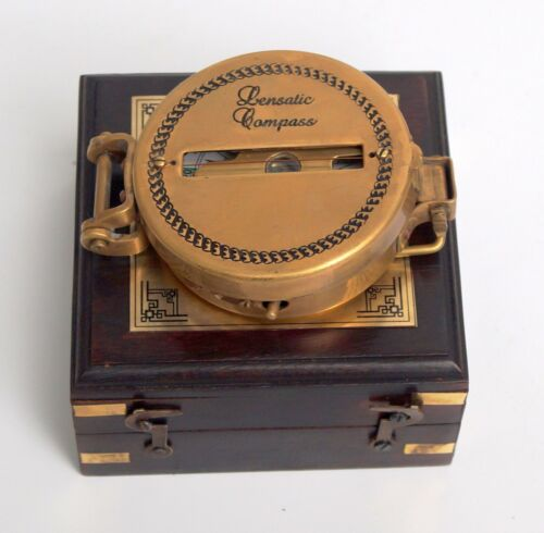Brass lensatic compass 3 vintage antique nautical military camping w/ wooden box