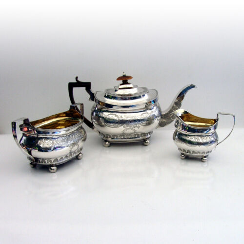 English Engraved 3 Piece Tea Set John Douglas Sterling Silver 1818
