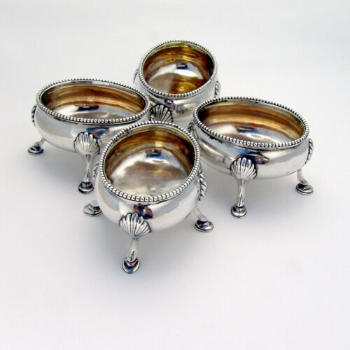 Georgian Footed Salt Cellars Set Samuel Meriton Sterling Silver 1793
