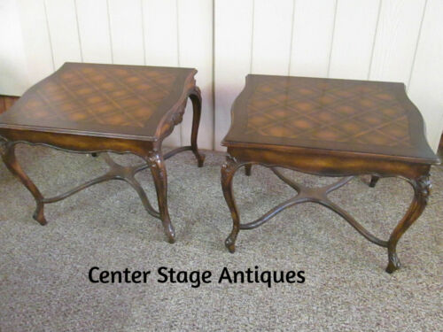 49546 PAIR FRENCH COUNTRY CARVED LOUIS XV  SIDE LAMP TABLE S