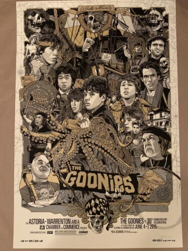 The Goonies Tyler Stout Gold Variant Mondo poster print