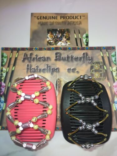 A pair of an AUTHENTIC hand made African Butterfly Hairclips XMAS SALE