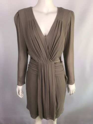 NEW SATCH size 10 100% silk taupe dress