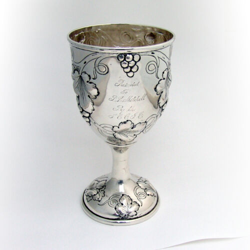 Repousse Grapevine Large Goblet Coin Silver 1860 Inscribed
