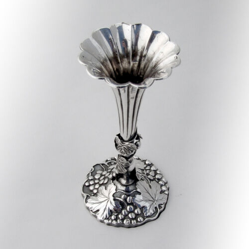 Chinese Export Silver Bud Vase Figural Grapevine Base 1900