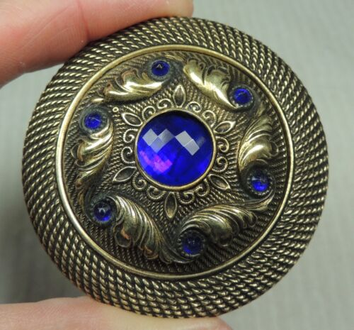 XLG JEWELED BRASS BUTTON ~ W/ FACETED COBALT BLUE GLASS STONES GAY 90's METAL