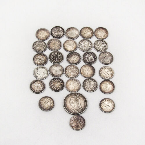 Canadian Silver 5 Cent 28 Coins Set English 1891 Shilling