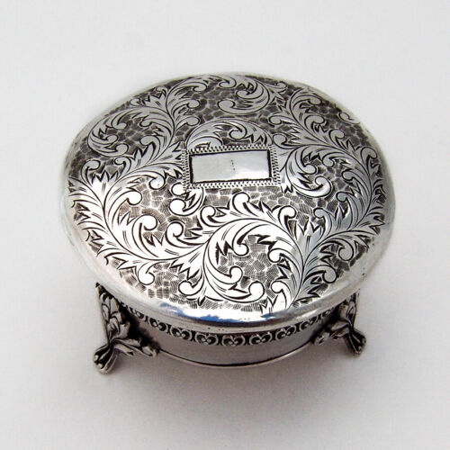 Japanese Engraved Small Jewelry Box Footed 950 Sterling Silver