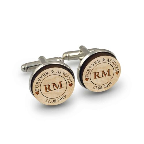 Personalised Forever & Always Round Wooden Name Initials Wedding Cufflinks Gift