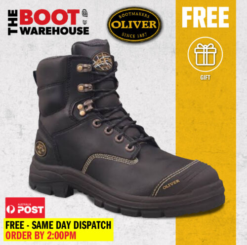 Oliver Work Boots, 55345, Steel Cap Safety , Black Leather, Water Resistant
