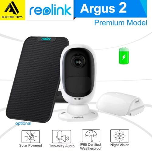 Reolink Argus 2 Security IP Camera Rechargeable Battery WiFi Solar Panel Power <br/> PIR Motion Sensor✔Two-way Audio✔Star-light sensor✔Local