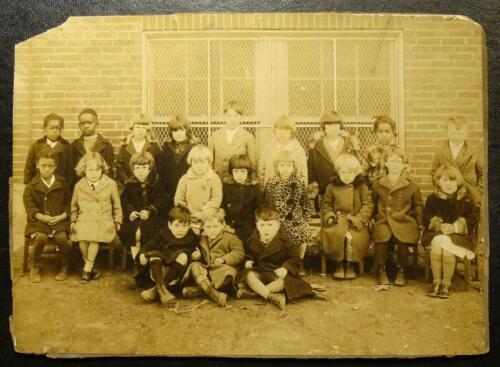1900's CABINET PHOTO-INTEGRATED SCHOOL, COLORED AND WHITES, INDIANA