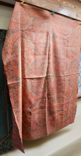 """Antique Hand Loomed Wool Paisley Coverlet Shawl Table Cloth 64"""" Shabbily Chic"""