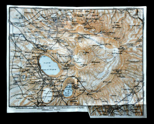 1909=Topographical Plan Colore Dintorni LAGHI ALBANO.NEMI Wagner-Debes.1:100000