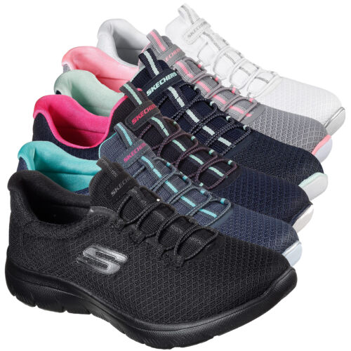 Womens Skechers Summits Memory Foam Sports Gym Slip On Trainers Sizes 3 to 8