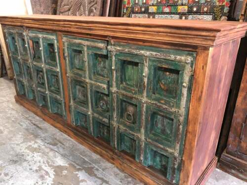 Teal Blue Credenza, Sideboard TV Console Distressed Reclaimed Buffet Cabinet