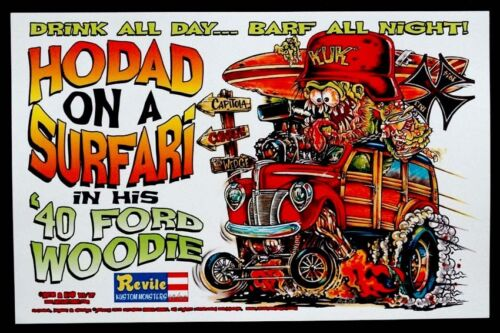 RAT FINK Ed BIG DADDY Roth HODAD ON A SURFARI Poster SIGNED by JOHNNY ACE & KALI
