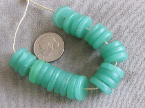 Lot of 25 Antique Glass Trade Beads Spacers Rondelles Sea Foam Green 3x13mm