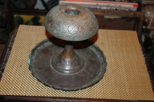 Antique Middle Eastern Arabic Candle Holder Copper Metal Signed Engravings