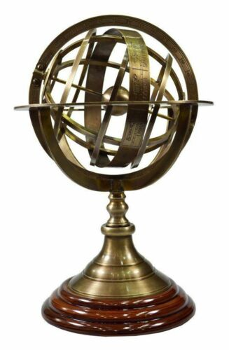 Antique Nautical Armillary Engraved Sphere Vintage Globe Wooden Base Xmas Gift.