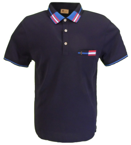 Gabicci Vintage Mens Navy Blue Classic Retro Polo Shirt